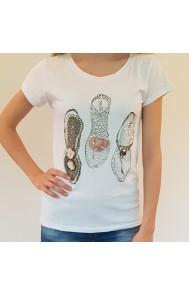 Majica JLF - Greek sandals - bela s kristalčki